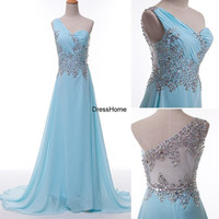 Prom Dress Long - Long Prom Dress / One-shoulder Prom Dress / Blue Prom Dress / Long Party Dress / Blue Evening Dress