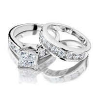 Princess Cut Diamond Engagement Ring and Wedding Band Set 1 Carat (ctw) in 14K White Gold, Size 5.5