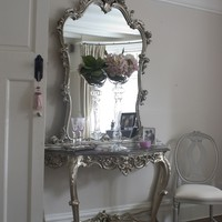 Clarissa Silver Marble Top Console Table & Mirror | Sweetpea and Willow