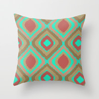 VINTAGE IKAT Throw Pillow by Nika