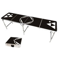 Sleek Black Portable Beer Pong Table with Bottle Opener, 8 Feet