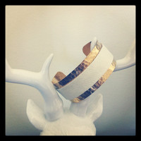 1 inch Hammered gold plated cuff with white recycled by miskwill