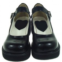 Black PU Low Heels Lolita shoes