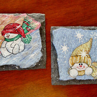 Hand-painted Snowman Coasters (Set of 2) Christmas, Housewarming