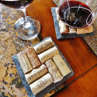 Slate Wine Cork Coasters (Set of 2)