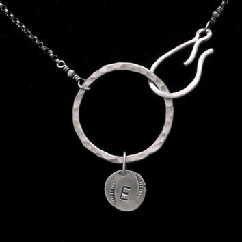 silver initial necklace - custom monogram necklace - sterling silver initial necklace - custom silver initial necklace - letter necklace