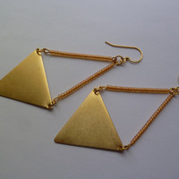 Peach and brass triangle earrings statement by littlepancakes