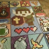 Zelda like Video Game Full Size Quilt by McFrogling on Etsy