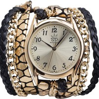 SARA DESIGNS BLACK SNAKE WRAP WATCH | Swell.com