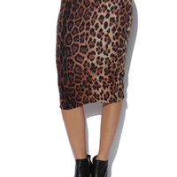 High Waist Leopard Midi Skirt | Shop Animal at Arden B
