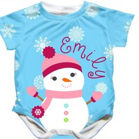 Personalized Handmade Snowman Snow Girl Onesuit - Available 0-24 Months - Whimsical & Unique Gift Ideas for the Coolest Gift Givers