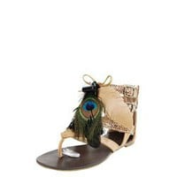 Shoe Republic LA Bini Camel Strappy Feather Detail Sandals and Womens Fashion Clothing &amp; Shoes - Make Me Chic