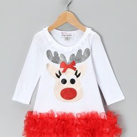 Christmas White Reindeer Ruffle Dress - Available in Infant, Toddler & Girls - Whimsical & Unique Gift Ideas for the Coolest Gift Givers