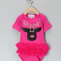 Christmas Pink Reindeer Pink Bodysuit - Whimsical & Unique Gift Ideas for the Coolest Gift Givers