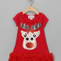 Christmas Red Reindeer Ruffle Dress - Available in Infant, Toddler & Girls - Whimsical & Unique Gift Ideas for the Coolest Gift Givers