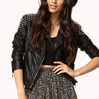 Spiked Shoulder Moto Jacket | FOREVER 21 - 2023149688