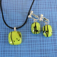 Yellow Necklace Earring Set, Dangle Clip On Earring, Fused Glass Jewelry, Yellow Jewelry Set - Hughes - 4287 -1