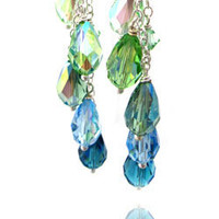 Long Dangle Earrings with Crystal in Blue, Green Aqua - Shy Siren