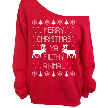 Merry christmas ya filthy animal ugly christmas sweater red slouchy