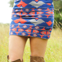 Closing Time Skirt: Blue/Grey | Hope's