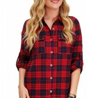 Red Plaid Button Up Long Sleeve Top