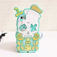 Cute 3D Skull and Dagger Soft Silicone Gel Back Case Cover for iPhone 5 Mint Green