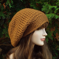 Chestnut Brown Slouch Beanie - Womens Slouchy Crochet Hat - Oversized Cap - Chunky Hat