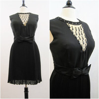 60s Dress Vintage Illusion Neckline Pleated Mod Mini Cocktail Party L