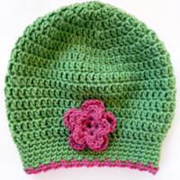 FREE SHIPPING 10/17 - Green & Pink Crocheted Slouch Hat