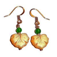 Yellow and Green Beaded Leaf Dangle Earrings