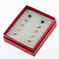 Set Of 5 Multi Color 6mm Genuine Freshwater Cultured Pearl Stud Earrings Set