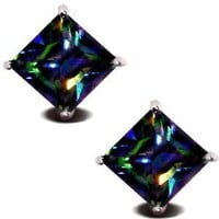 Rainbow Peacock Topaz Square Princess Cut CZ Basket Set Silver Men Unisex Stud Earrings (5mm 0.75ct.)