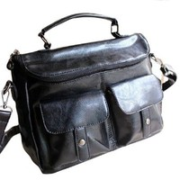 Street-chic Style Retro Black Crossbody Bag Handbag