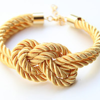 Yellow silk cord Bracelet  24k gold plated  by TheUrbanLady