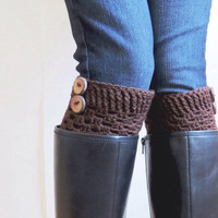 Crochet Button Boot Cuffs Luxe Cuffs Boot Socks Toppers in Chocolate Espresso Brown