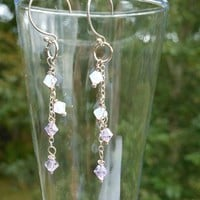 Sterling Silver Lavender Swarovski Bicone Earrings
