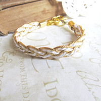 YACHT CLUB braided nautical rope cuff bracelet gold by brideblu