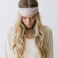 Great Gatsby Embroidered Lace White and Cream Stretchy Headband Wedding Hair Band Wide Stretchy Lace Hairband (Gatsby3)