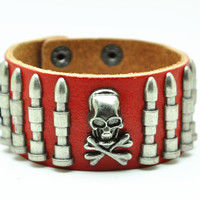 Red Real Leather Bracelet with Bullet Rivet Women Jewelry Bangle Fashion Bracelet, Men bracelet   C017