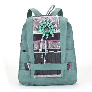Handmade Bohemian Wood Beads Canvas Backpack - Blue