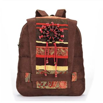 CrazyPomelo Handmade Bohemian Wood Beads Canvas Backpack - Coffee