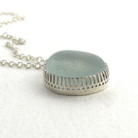 Sea Glass Necklace Pendant in Seafoam Blue CELINA