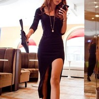 ASYMMETRICAL LONG SLEEVE DRESS