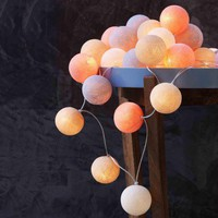 Salmon Cotton Ball String Lights