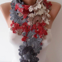 Multicolor Knit Wool Crochet Scarf - Handknit - Winter Scarf - Neck Warmer