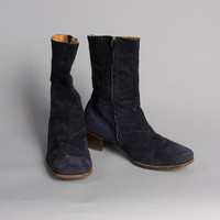 MEN'S 70s BLUE SUEDE Boots / Glam Rock Disco Chunky Heel Boots, 9