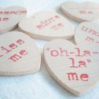 Modern Valentine Wooden Heart TokensHandstamped by indobaytextiles