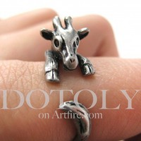PRE-ORDER Miniature Baby Giraffe Ring in Silver Sizes 4 to 9 available | dotoly - Jewelry on ArtFire