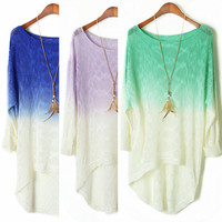 A 072920 Dye gradient long-sleeved bat dovetail sweater