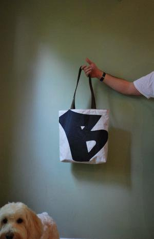 Recycled Sail Tote Black Graffiti Letter B by reiter8 on Etsy